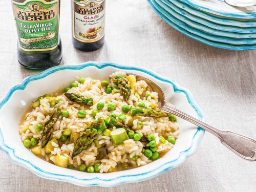 risotto with balsamic-roasted asparagus and peas recipe