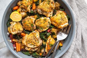 Skillet Chicken Thighs With Greens Recipe