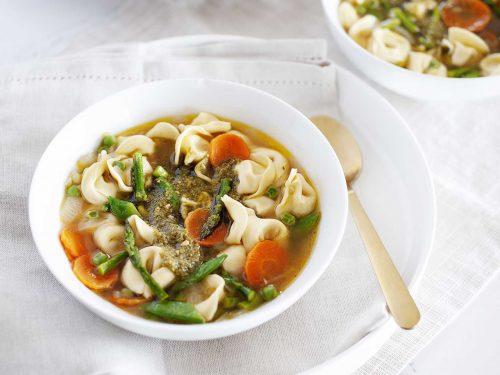 spring vegetable tortellini soup with pesto recipe