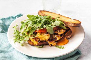 Cauliflower Steak Sandwiches with Red Pepper Aioli Recipe