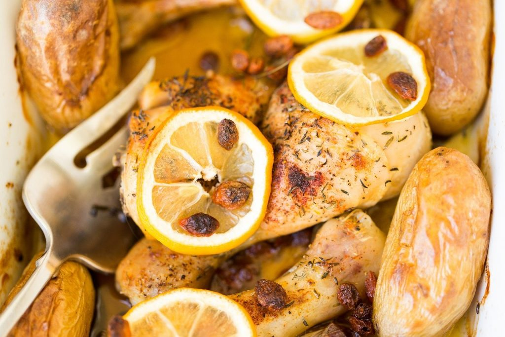 skillet lemon chicken with olives and herbs recipe