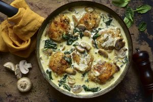 Chicken and Mushrooms in a White Wine Cream Sauce Recipe