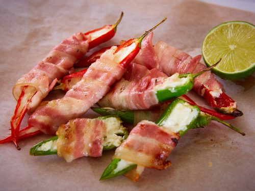 crispy bacon wrapped jalapeno poppers