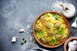 Asian Meatballs and Carrot Rice Recipe