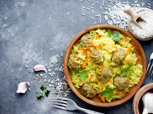 flavorful meatballs and carrot rice