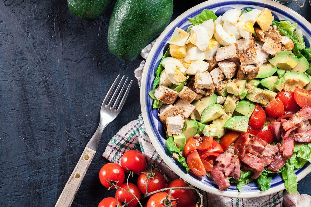 healthy chicken, bacon and avocado salad