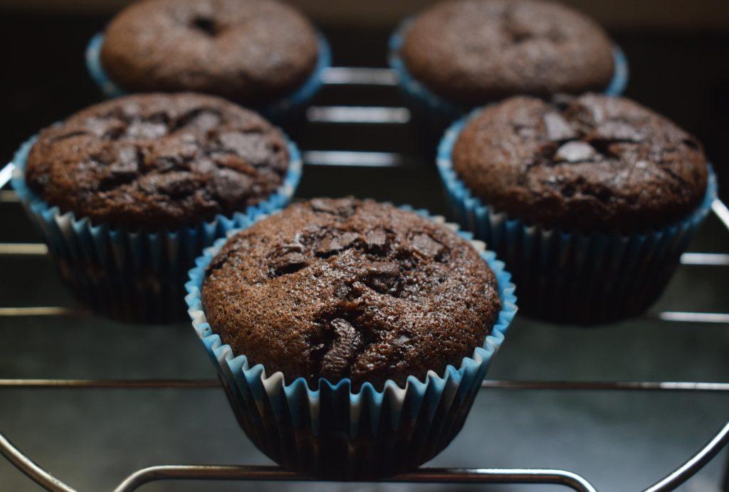 healthy chocolate fudge banana muffin