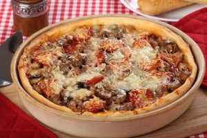 Deep Dish Pizza With Sausage And Mushrooms Recipe