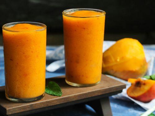 sweet mango peach smoothie