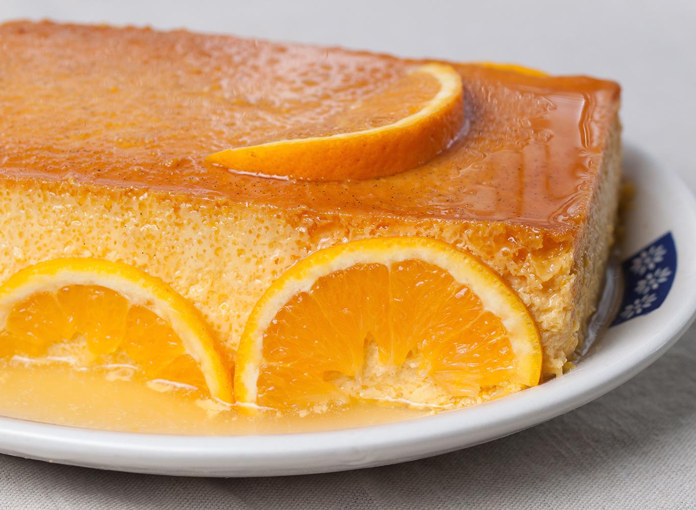 silky orange creme caramel with toffee