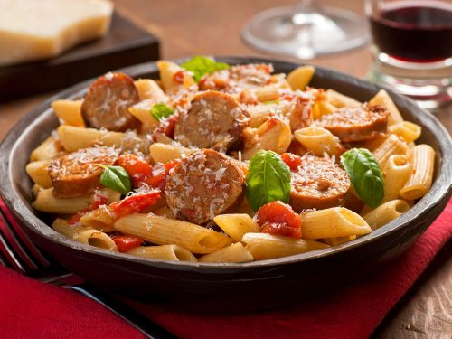 delicious sausage and pepper pasta