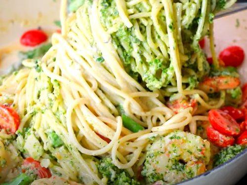 shrimp pesto pasta with asparagus recipe