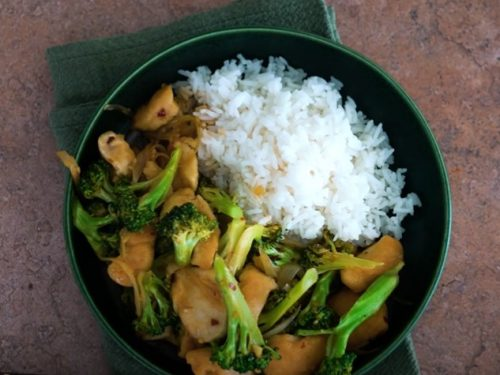 jasmine rice, chicken and almond stir-fry recipe