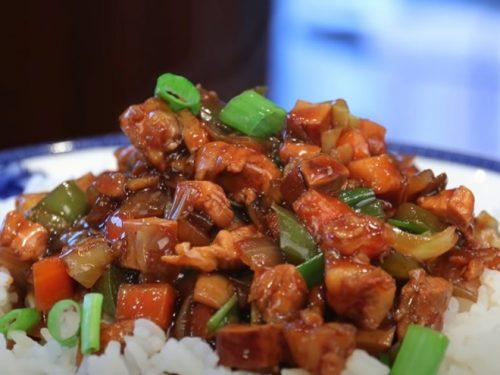 shark kabobs over spiced cashew rice recipe