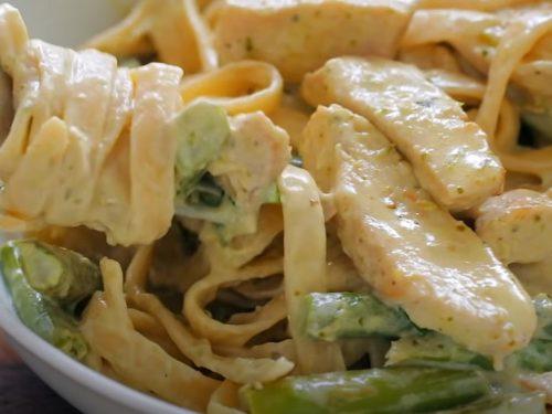 pesto pasta with chicken, asparagus & arugula recipe