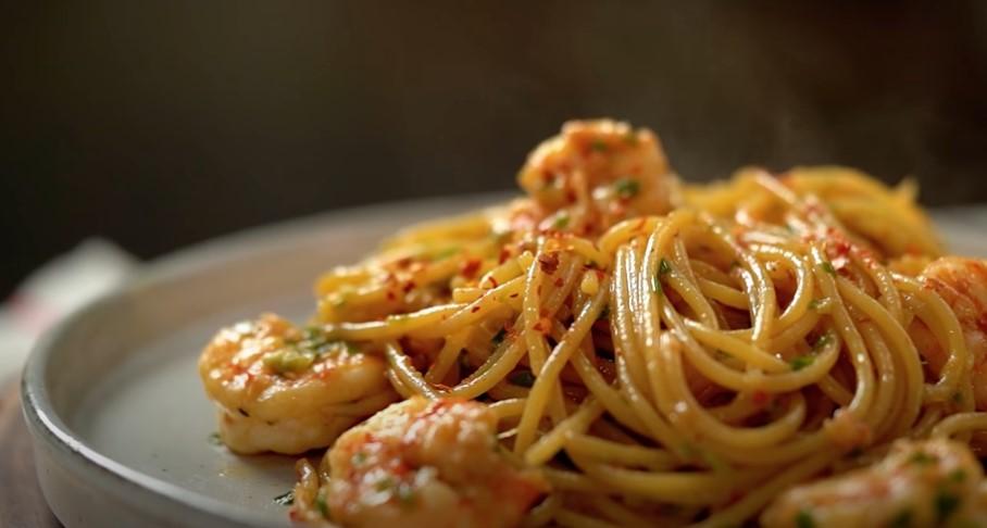 grilled shrimp spaghetti with salsa verde recipe