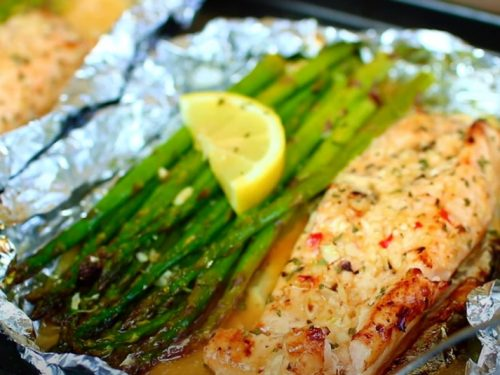 lime butter salmon in foil with summer veggies recipe