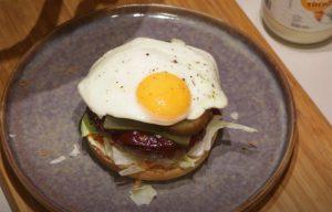 Chorizo-Olive Burgers with Fried Egg Recipe