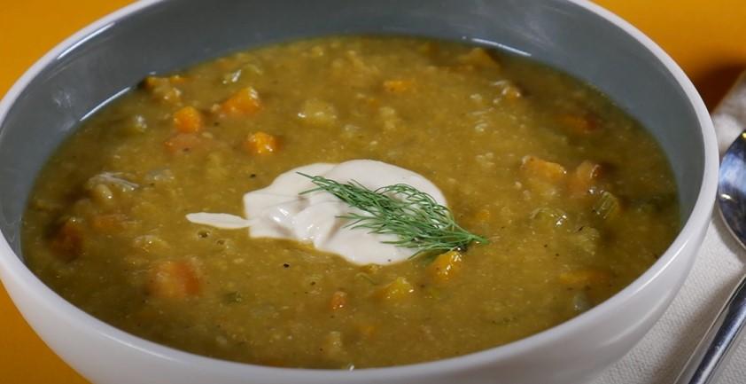 Creamy Split Pea Soup with Portobellos Recipe