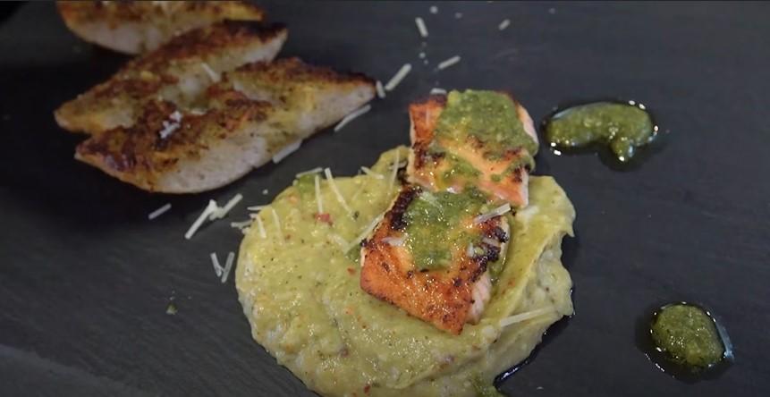 Grilled Salmon with Cilantro-Pecan Pesto Recipe