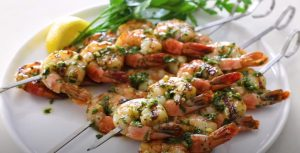 Grilled Shrimp Skewers with Tomato, Garlic & Herbs Recipe