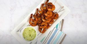 Grilled Spicy Lime Shrimp with Creamy Avocado Cilantro Sauce Recipe