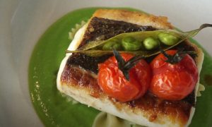 Herb-Crusted Halibut with Pea Purée and Coriander Vinaigrette Recipe