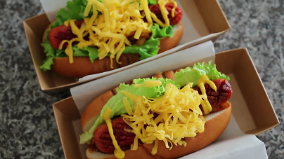 hot dogs with spicy kimchi slaw recipe