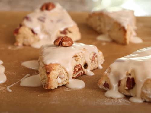 glazed oatmeal maple scones with pecans & currants recipe
