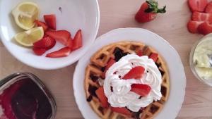 Lemon Belgian Waffles with Blueberry Syrup Recipe