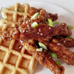pear butter chicken and waffles recipe