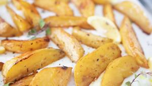 Roasted Lemon-Garlic Potato Wedges Recipe