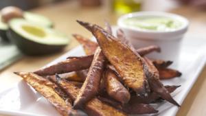 Sweet Potato Wedges with Garlic Avocado Aioli Recipe
