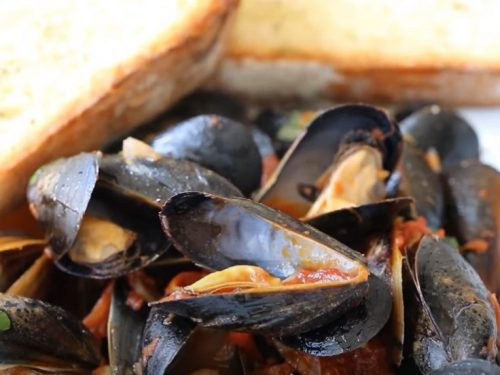 steamed mussels in tomato broth with goat cheese recipe