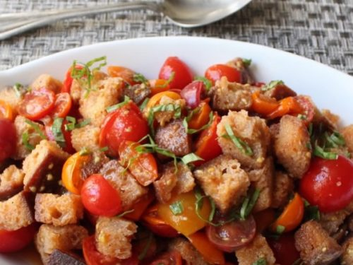 tomato and vegetable grilled bread salad recipe