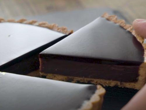 bittersweet chocolate basil tart with honey grapefruit sauce recipe