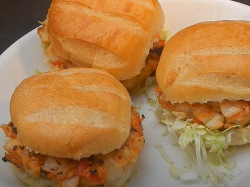 scallop and corn bacon burgers with spicy mayo recipe