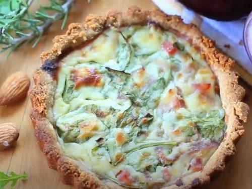arugula and cremini quiche with gluten-free almond meal crust recipe