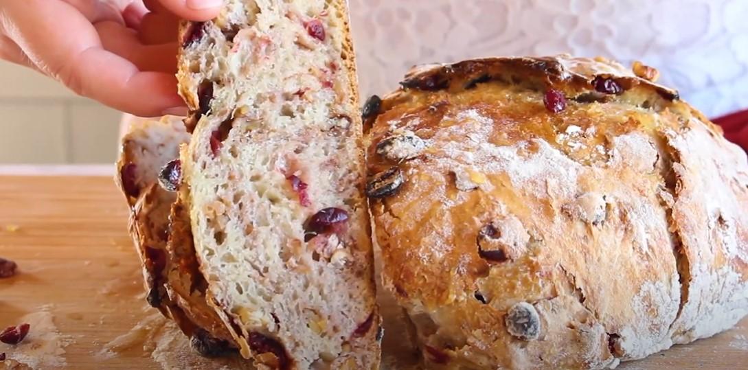 crusty cranberry nut no knead bread recipe