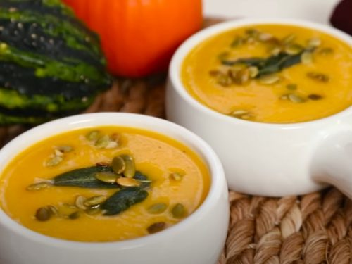 roasted squash soup with maple-glazed bananas recipe