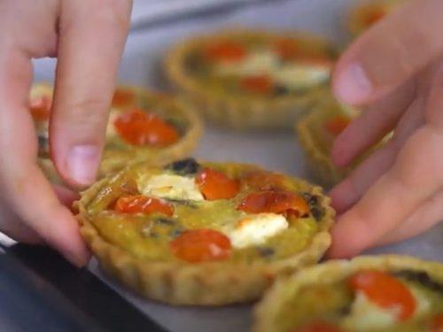 pesto, goat cheese, and tomato quiche recipe