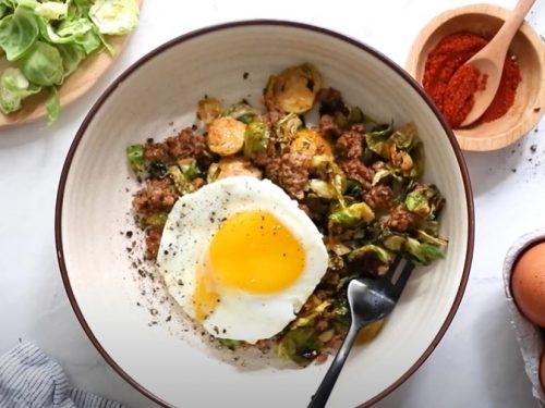 spicy pork brussels bowls recipe