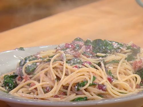 fettuccine pasta with swiss chard and dried fruit recipe