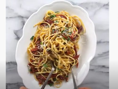 spaghetti with scallops, sun-dried tomatoes and olives recipe