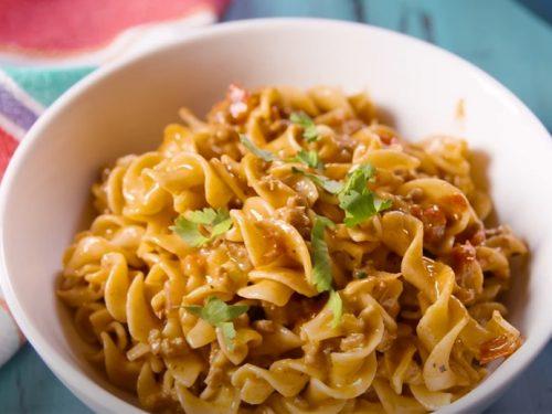 no yolks® one pot cheesy taco noodles recipe
