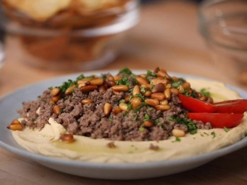 hummus topped with steak recipe