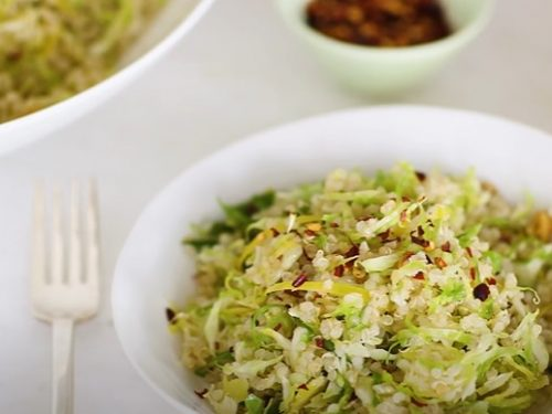 raw shredded brussels sprouts with lemon and oil recipe
