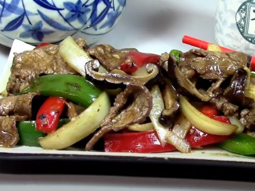 beef with red and yellow bell peppers recipe