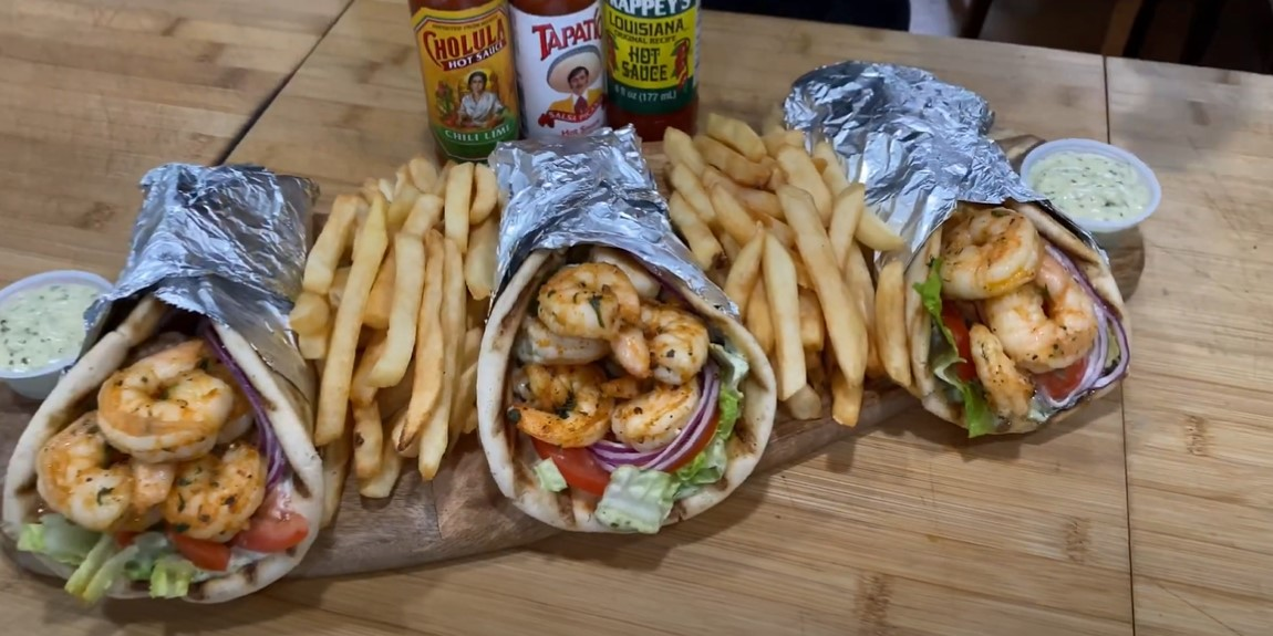 grilled shrimp and pitas with chickpea puree recipe