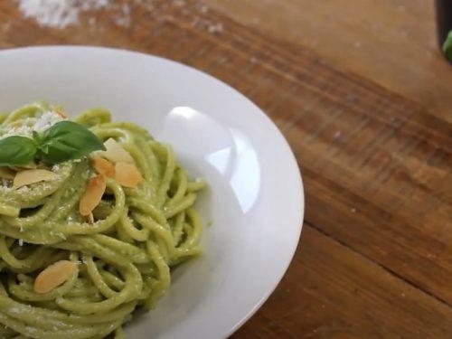 pasta with spicy almond pesto recipe